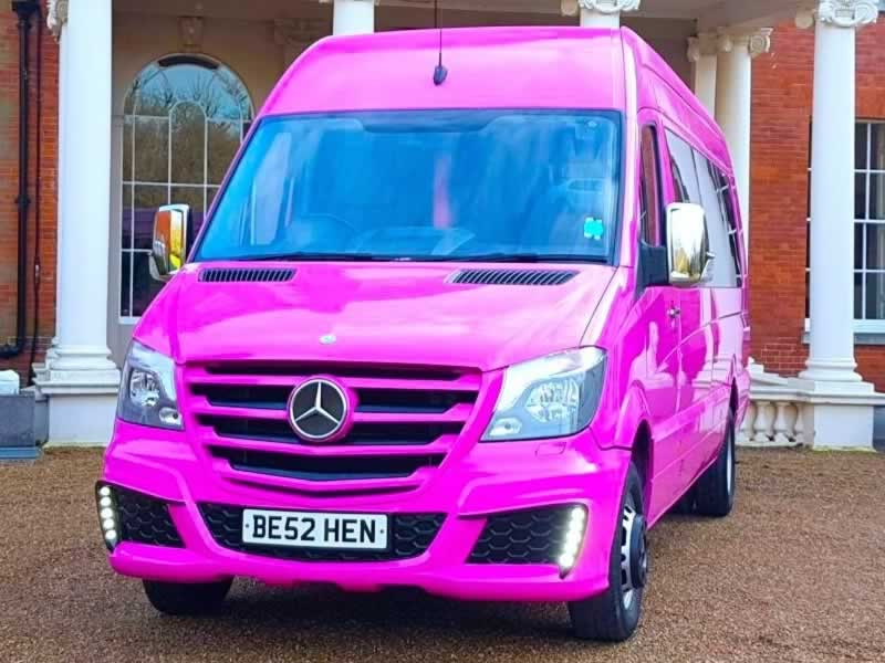Pink Mercedes party bus hire