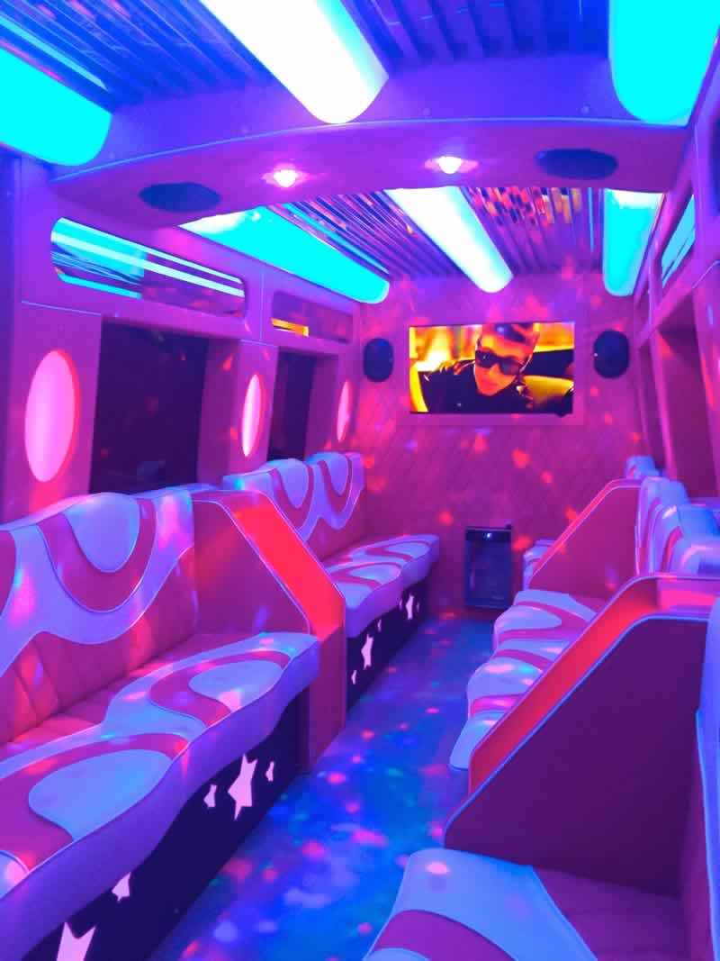Interior Mercedes Pink Paarty Bus